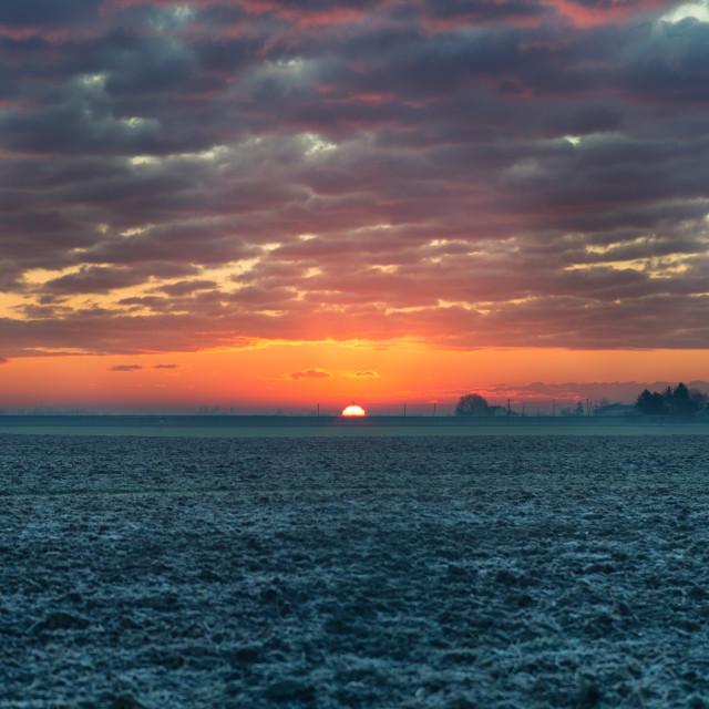 """Sunrise in the winter morning"" stock image"