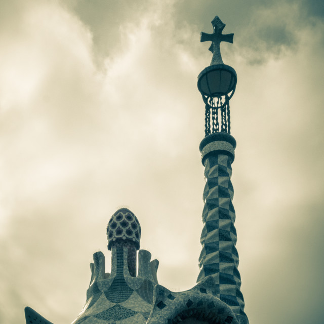 """Roof of Porter's Lodge in Parc Guell, Barcelona, Catalonia, Spai"" stock image"