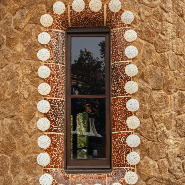 """Border around window on Porter's Lodge building in Parc Guell, B"" stock image"