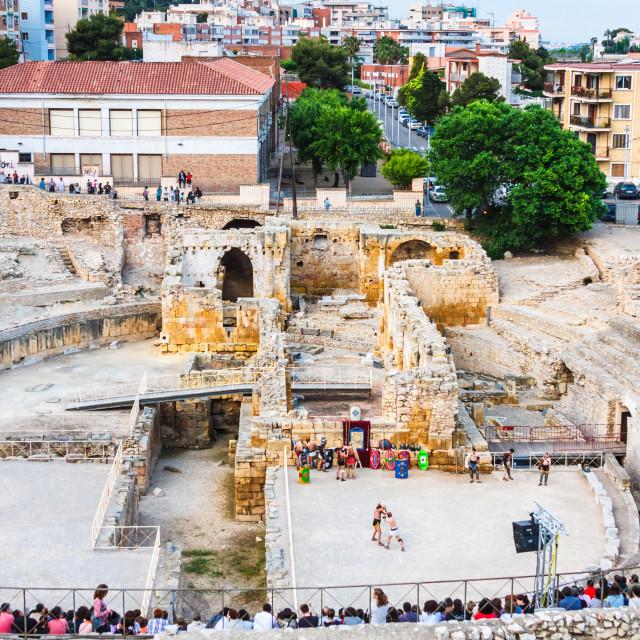 """Roman amphitheatere in Tarragona, Spain"" stock image"