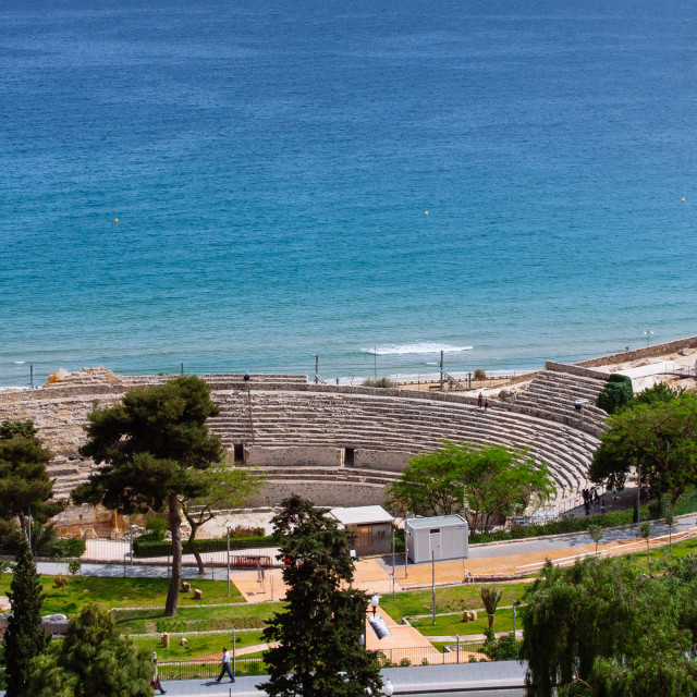 """High shot looking to the Roman amphitheatre in Tarragona, Catalo"" stock image"