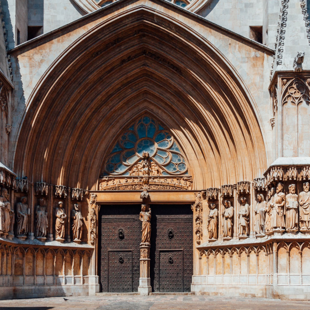 """Front on view of main gate and facade of the Cathedral of Tarrag"" stock image"