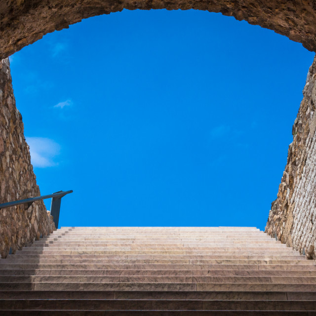 """Steps from passageway inside the Circo Romano, Tarragona, Catalo"" stock image"