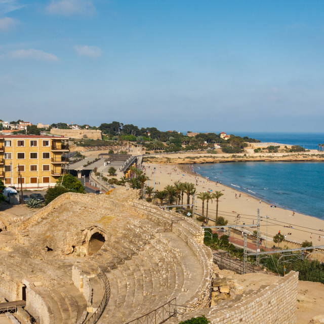 """High shot looking to the Roman amphitheatre and the main beach o"" stock image"