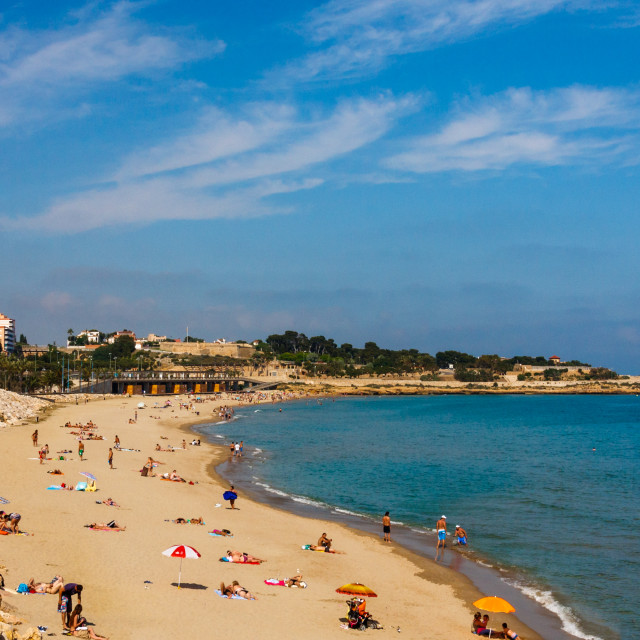 """The long sandy stretch of beach (Platja del Miracle) of Tarragona and the Mediterranean sea, Catalonia, Spain"" stock image"