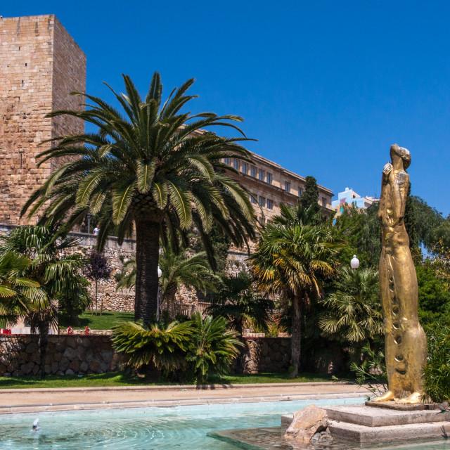 """""""Golden statue in park on Passeig de Sant Antoni nearby the Preto"""" stock image"""