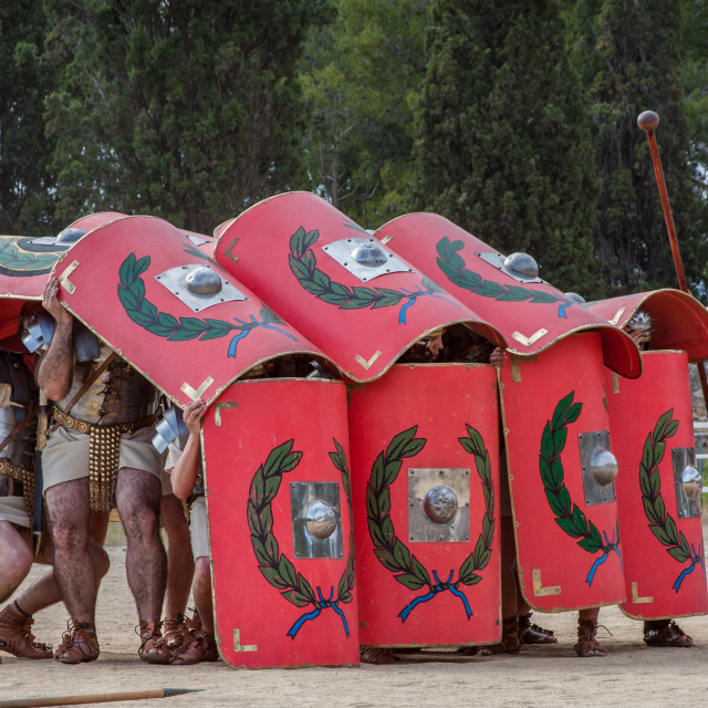 """Live reenactment of Roman Legionnaires in defensive combat posit"" stock image"