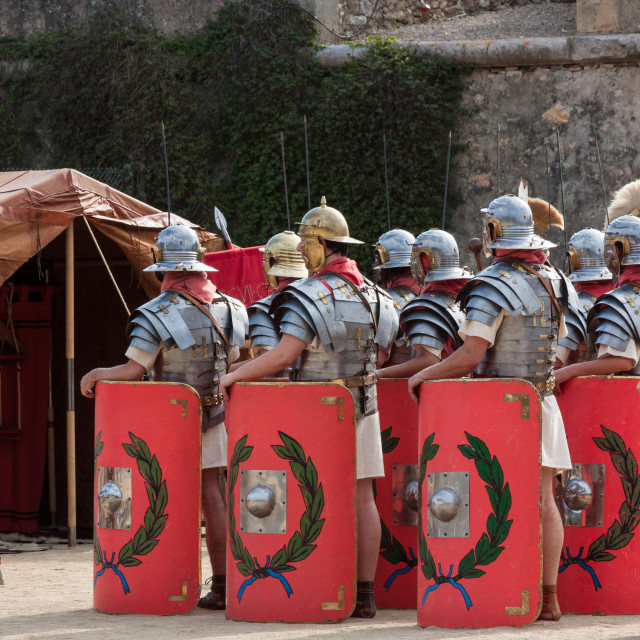 """Roman Legionnaire soldiers reconstruction during annual 'Tarraco"" stock image"