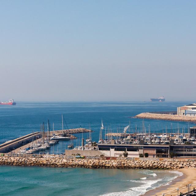 """View towards the Royal Tarragona Yacht Club and the Nautic Tarra"" stock image"