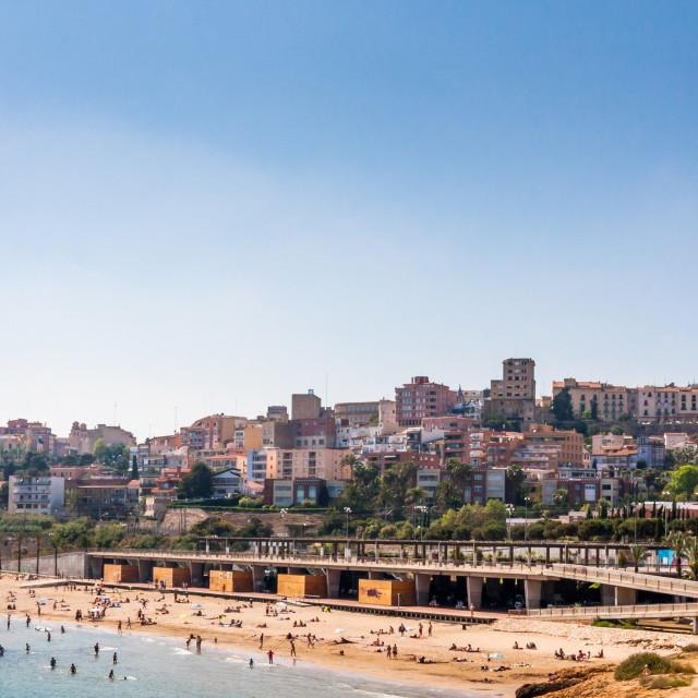 """Beach and city view of Tarragona, Catalonia, Spain"" stock image"