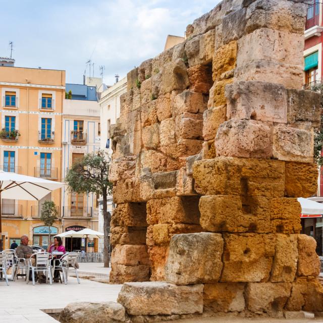 """""""Roman ruins in la plaza del forum, Tarragona, Catalonia, Spain"""" stock image"""