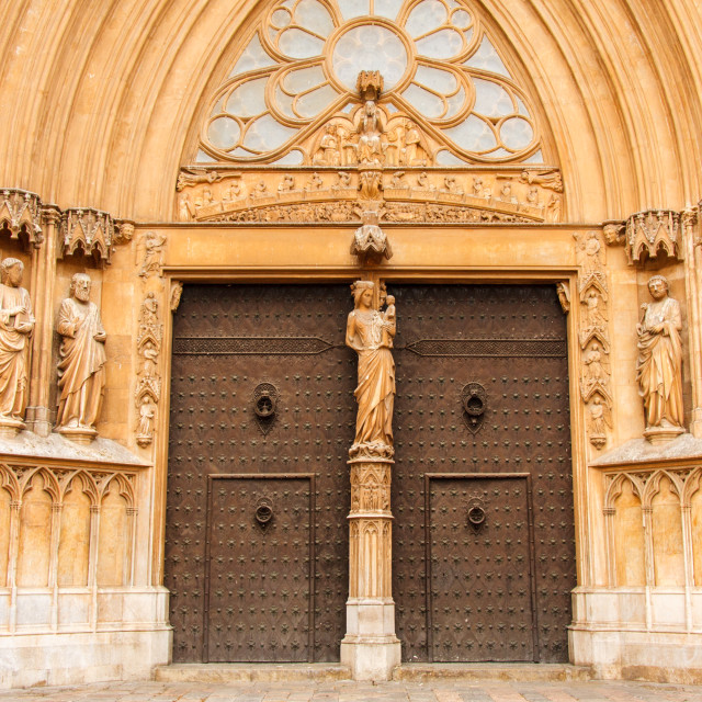 """The grand door and facade of Tarragona Cathedral, Catalonia, Spain"" stock image"