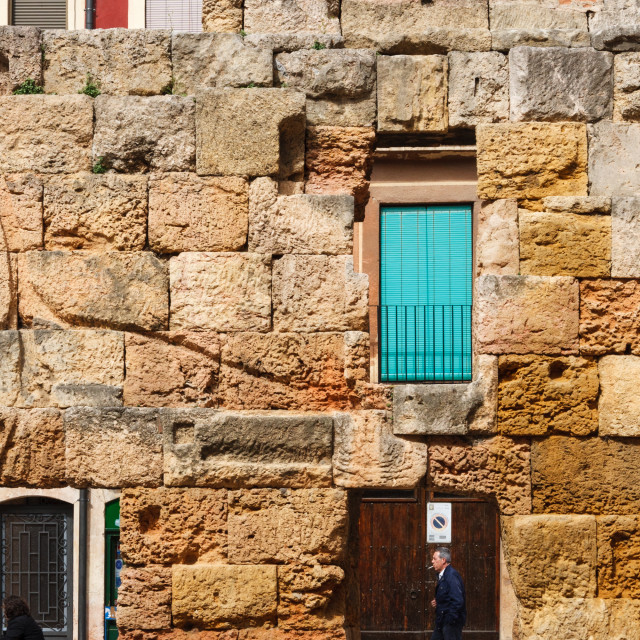 """Remains of a wall from ancient Roman times in la Plaza del Forum"" stock image"
