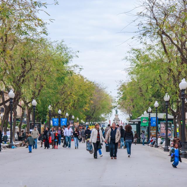 """Wide pedestrianised walkway of La Rambla Nova, Tarragona, Catalonia"" stock image"