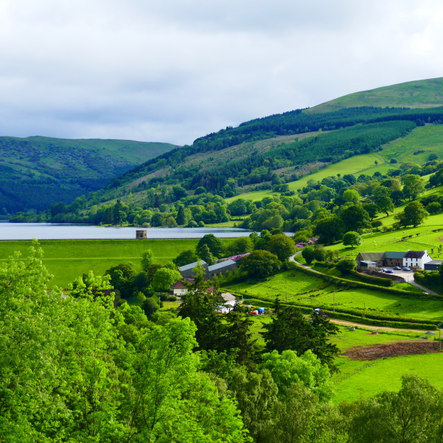 """Talybont Wales Reservoir and Landscape"" stock image"