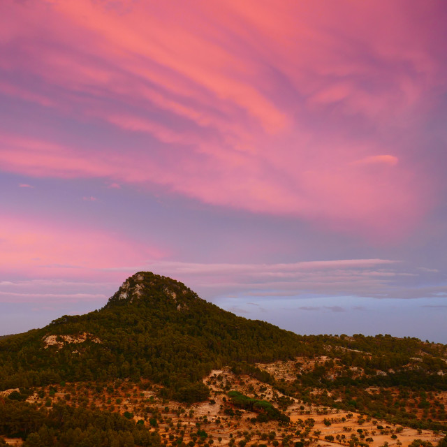"""Hills in Mallorca, Sunset"" stock image"