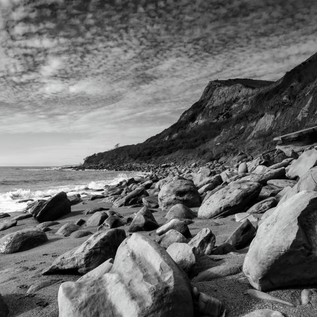 """Rocks on Eype Beach Dorset"" stock image"