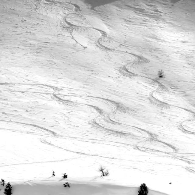 """Alpine Snowy Mountain Ski Tracks"" stock image"