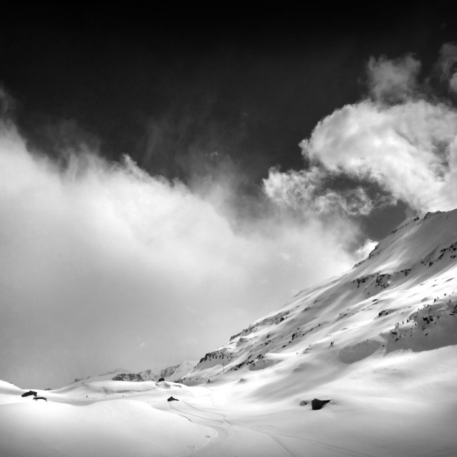 """Dramatic Black and White Alpine scene France"" stock image"