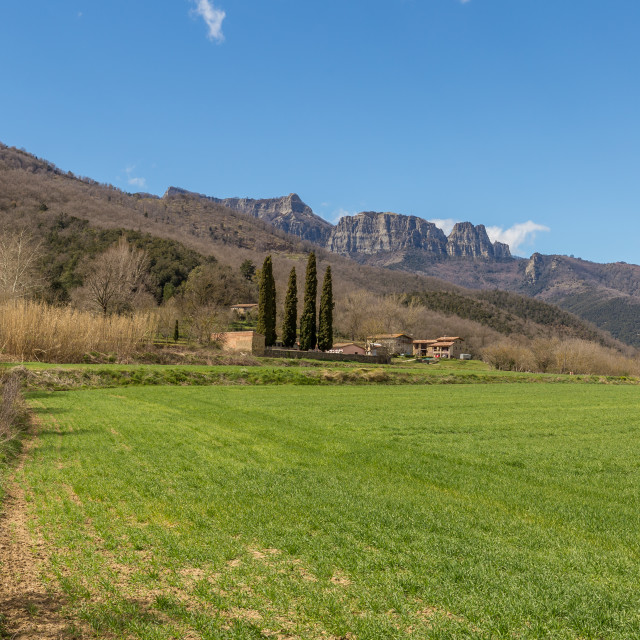 """""""Beautiful Spanish landscape near the ancient village Hostales den Bas in Catalonia of Spain"""" stock image"""