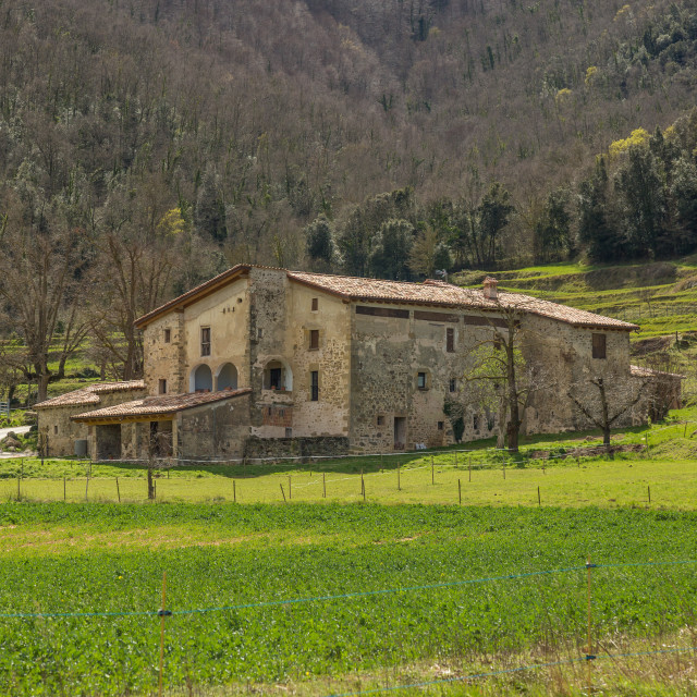 """""""Beautiful old stone houses in Spanish ancient village"""" stock image"""