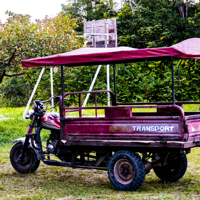 """""""Local transportation, motorcycle pickup tricycle in Iquitos peru,"""" stock image"""