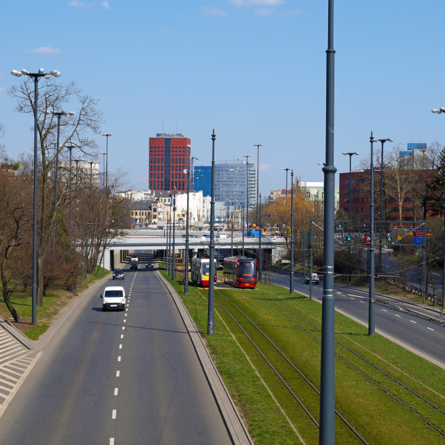 """""""The city of Lodz in central Poland, a view of the distant city c"""" stock image"""