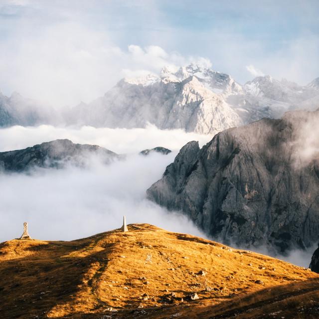 """Misty mountains in Tre Cime di Lavaredo, Dolomites, Italy"" stock image"