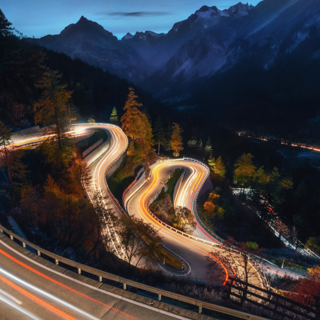 """Winding road of Maloja Pass in Switzerland"" stock image"
