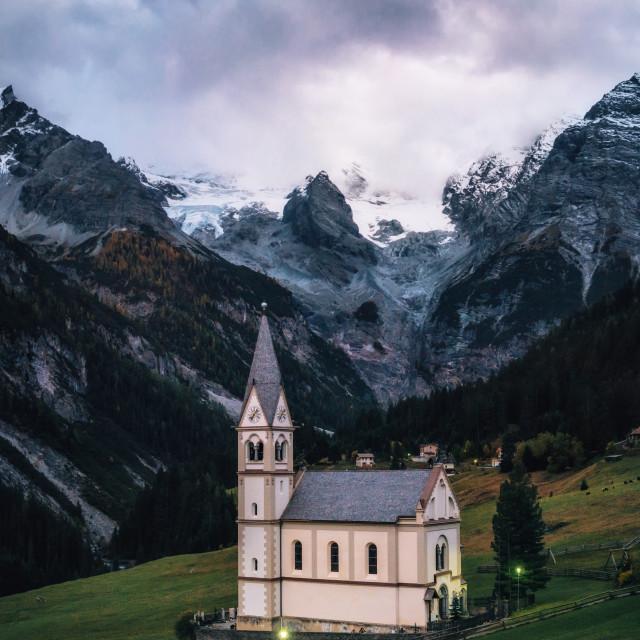 """""""Trafoi Church against the Stelvio mountains, Italy"""" stock image"""