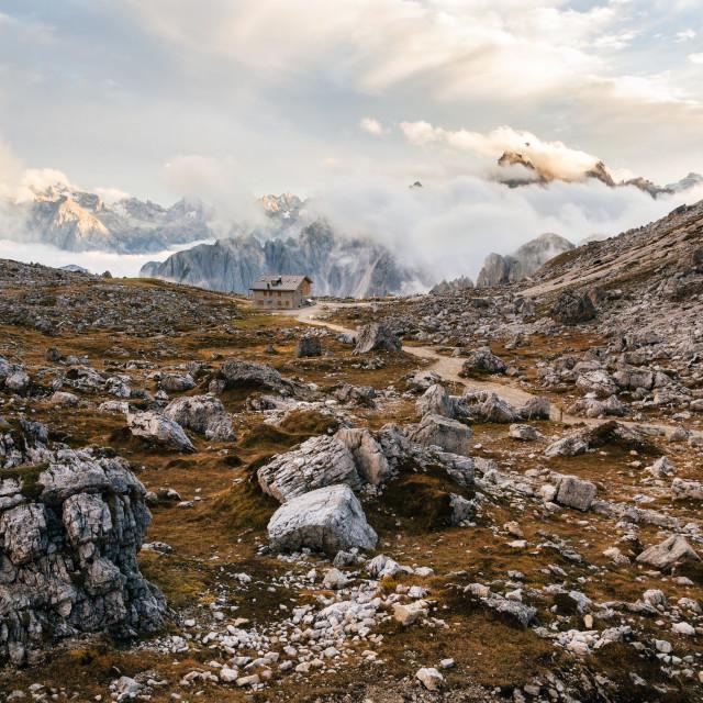 """Dolomites Alps rocky mountain at Tre Cime di Lavaredo, Italy"" stock image"