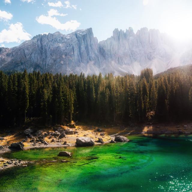 """""""Carezza Lake in Dolomites in autumn, Italy."""" stock image"""