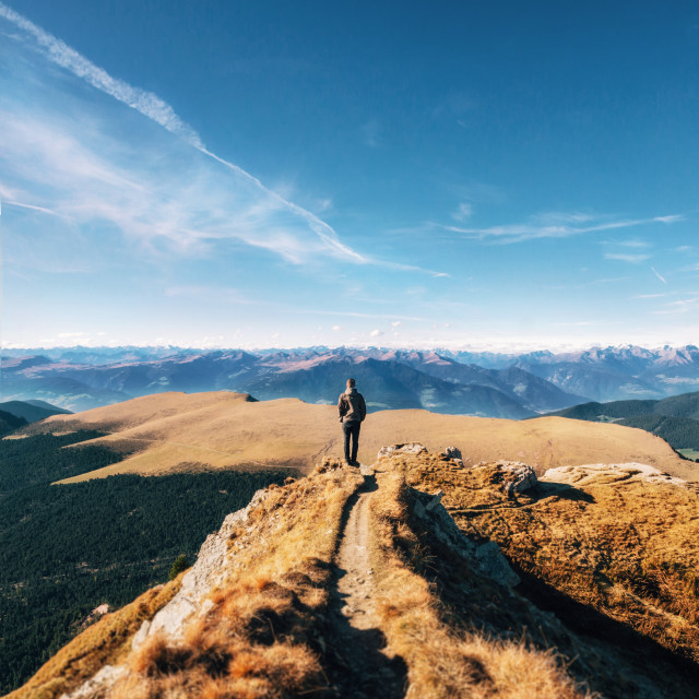 """""""Traveler stands at Seceda in Dolomites, Italy"""" stock image"""