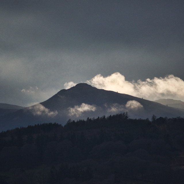"""Bennachie with necklace of cloud"" stock image"