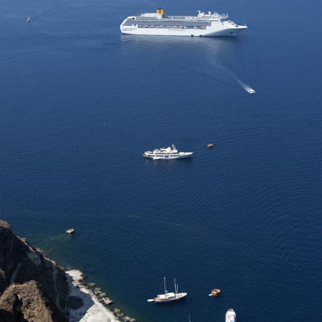 """""""Boats in Santorini Harbour"""" stock image"""