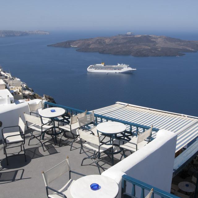 """Cruise Ship Docked in Santorini"" stock image"