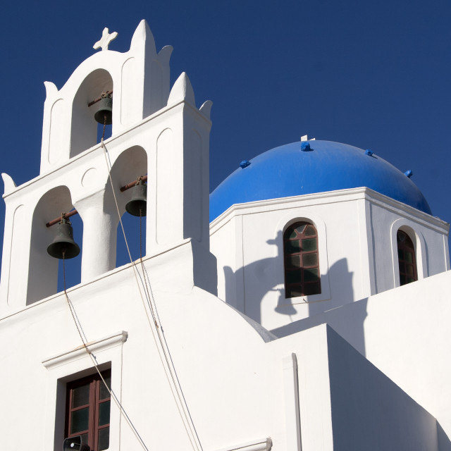 """Greek Orthodox Church and Bell Tower on the Island of Santorini"" stock image"