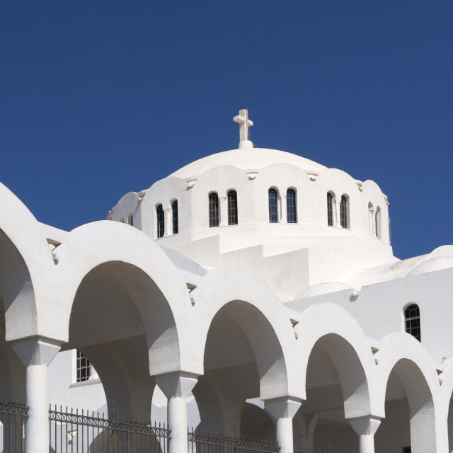 """The Orthodox Metropolitan Church of Santorini, Cyclades"" stock image"