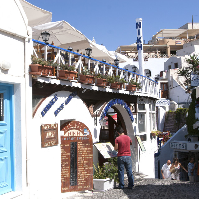 """Restaurant Nikh Taverna on Santorini"" stock image"