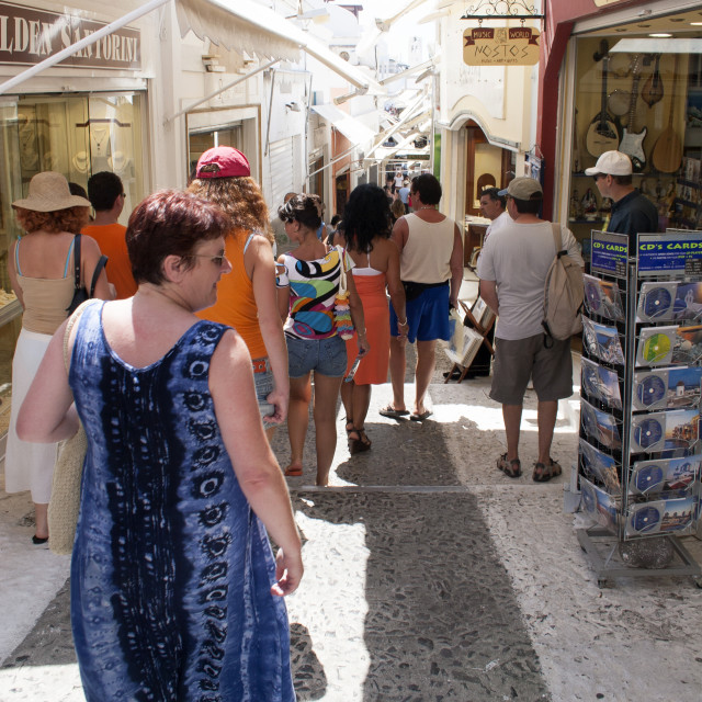 """Narrow Street on Fira, Santorini"" stock image"