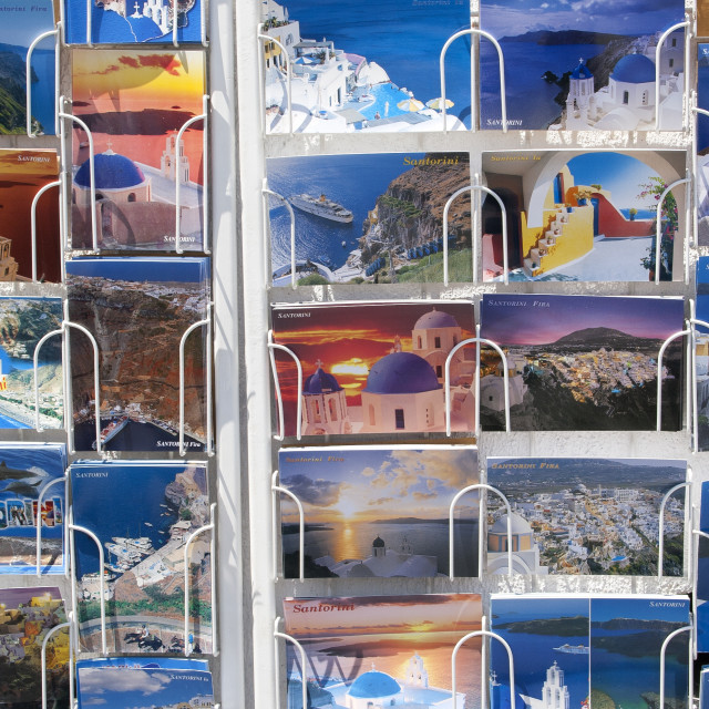 """Postcards of Santorini"" stock image"