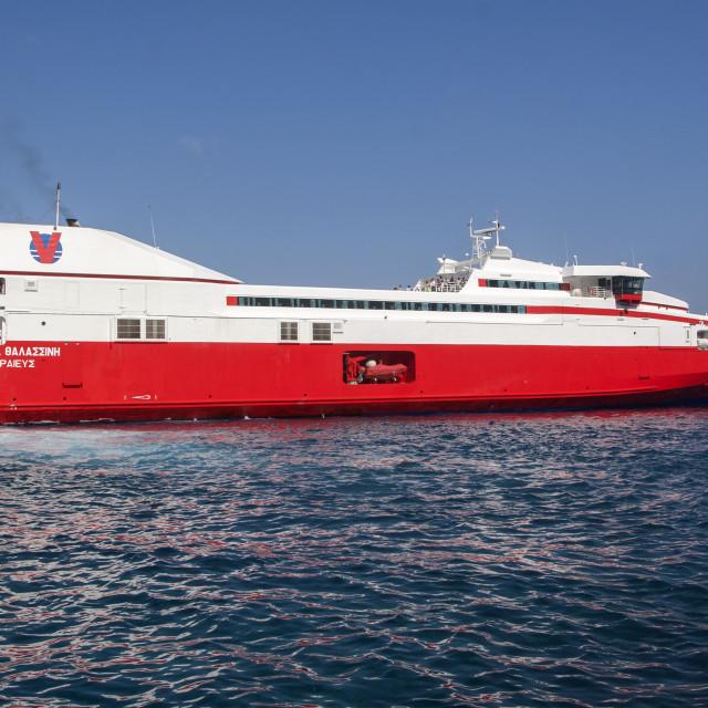 """The Panagia Thalassini Ferry Disembarking in Santorini"" stock image"
