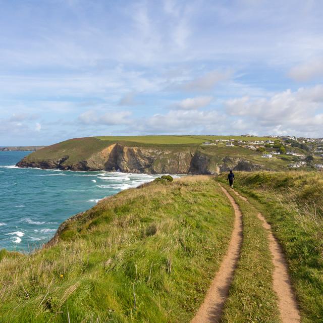 """South West Coastal Path , Mawgan Porth"" stock image"
