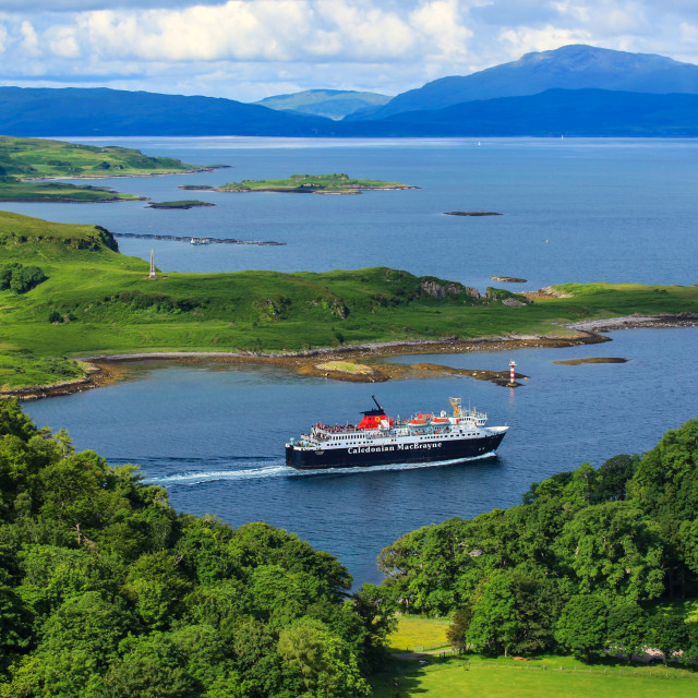 """Ferry in the Oban bay"" stock image"