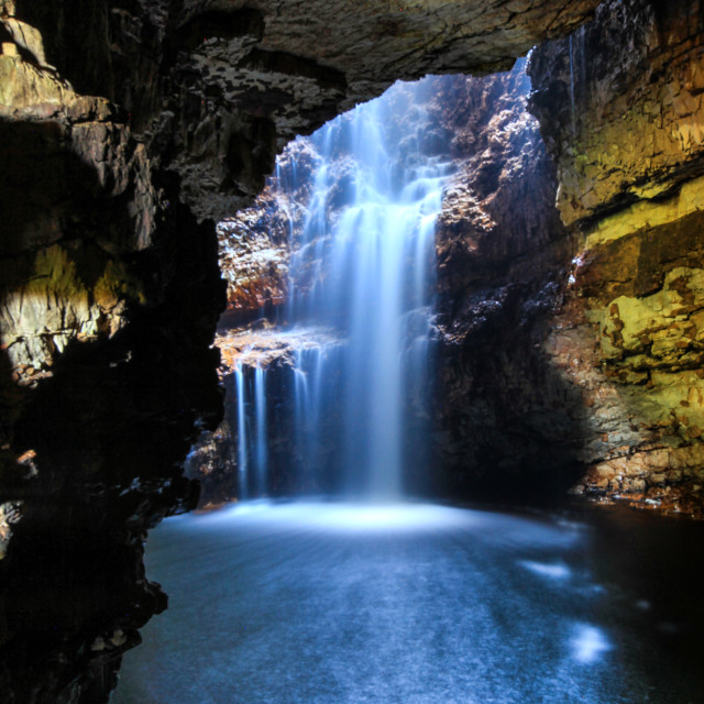 """Smoo Cave and waterfall"" stock image"