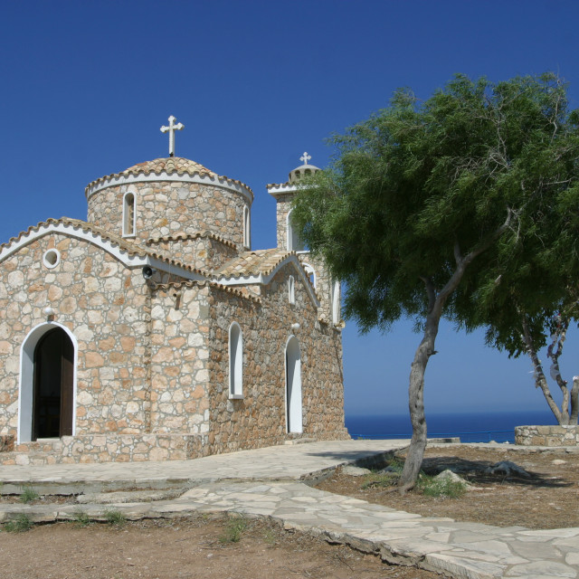 """The Church of Profitis Elias near Protaras, Cyprus"" stock image"