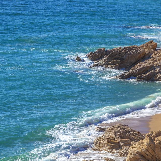 """""""Idyllic beach and rocks"""" stock image"""