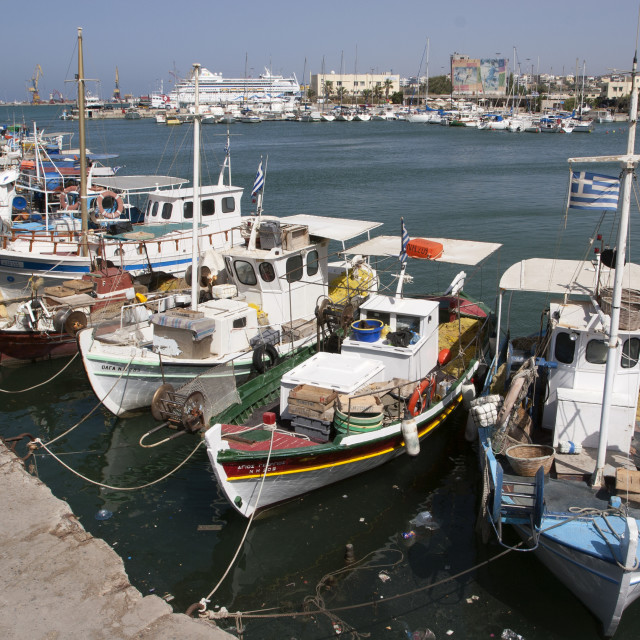 """Boats in Irakleio Harbour Crete"" stock image"