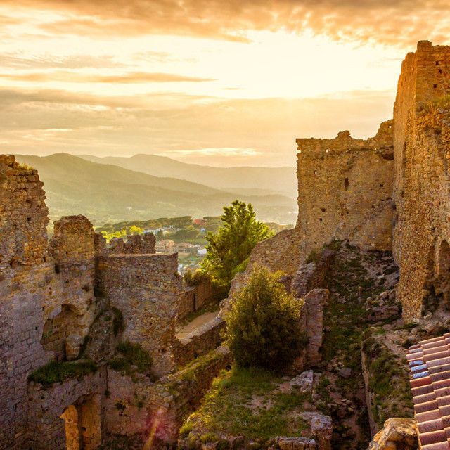 """""""The castle of Palafolls, near the town of Blanes, on the Costa B"""" stock image"""