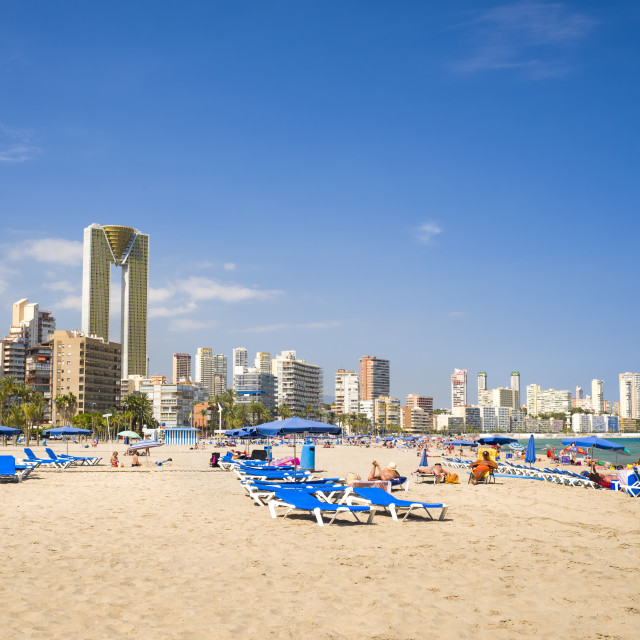 """Benidorm beach with InTempo tower in background."" stock image"
